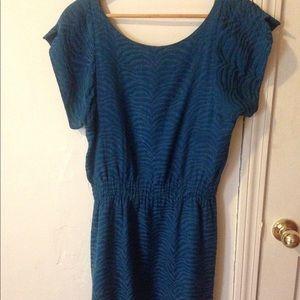 Rebecca Taylor blue silk animal print dress 2 S